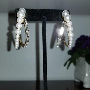 Jewelry - Pearl and crystal  hoop earrings